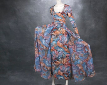 vintage 1960's dress ...luxe DON LUIS de España 2 layer brush stroke impressionist floral maxi dress