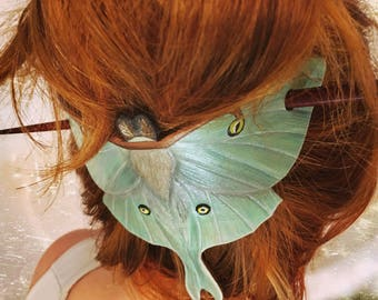 Tooled leather Luna moth hair barrette with stick - Artisan hair barrette - Original gift for her