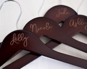 Wedding Dress Hanger, Personalized Bridesmaid Hangers, Engraved Wedding Hangers