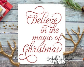 Believe Magic Christmas  SVG Vector Printable Cutable