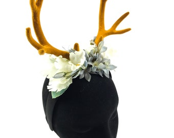 Beautiful deer stag horn flower crown Handmade by Asbeau *pastel*