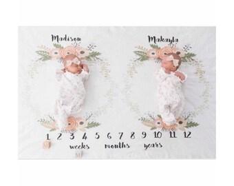 Milestone Blanket for twins, Baby milestone blanket, anniversary blanket, floral milestone blanket, girls milestone blanket, memory blanket