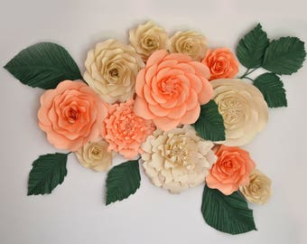Set of 12 Peach and Creme paper flowers with green leaves for paper flower wall decoration, photobooth backdrop, home decor.