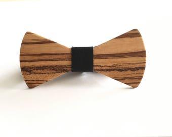 Zebra Wood Bowtie - wood bow tie - wooden bowtie - bow tie