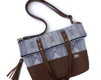 Twofer tote geometric foldover purse shoulder bag convertible totebag travel tote carry on bag floral crossbody