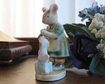 Sweet vintage ceramic mouse and dog in pastel shades