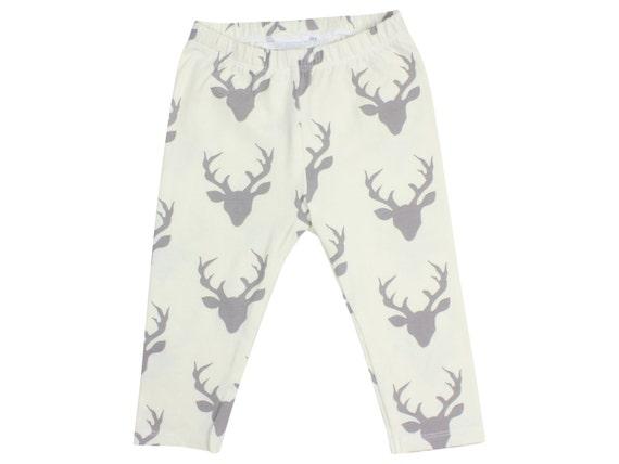 Ivory Buck Deer Baby Leggings Stag Boy Leggings Boy Leggings Girl or Boy Baby Leggings Unisex Leggings Toddler Pants Deer Unisex Baby Cream