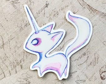 Unicorn kitty Fox (Limited edition of 6) - Vinyl Sticker of original watercolor painting