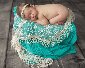 Cream Fringe Lace Wrap AND/OR Gold Leaf Trim Baby Headband for newborns, photographer, bebe, infant, by Lil Miss Sweet Pea
