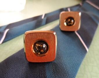 Cufflinks, vintage, gilt, Hickok, rectangular.