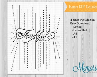Bullet Journal 2018 Thankful List, Planner Insert, BuJo, Printable, Instant Download