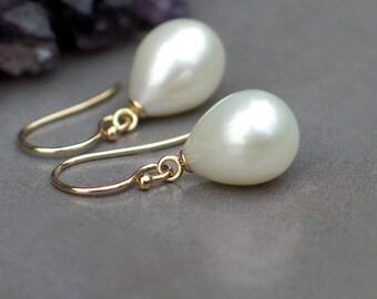 14k Gold Earrings | Large Ivory White Freshwater Teardrop Pearls | Classic Teardrop | Birthday Gift | Bridal Pearl Jewlery | Ready to Ship