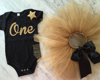 first birthday outfit, personalized tutu, gold glitter star hair clip headband, baby girl outfit, 1st birthday outfit, cake smash outfit