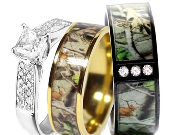 Camo Wedding Ring Set for Him and Her Titanium Black IP