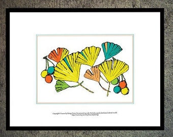 Primary Colors Ginko leaves artwork- wall art ginkgo leaf - 5x7 nature art print - pen and ink art - fall nursery decor - dorm decorations