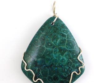 Blue Fossilized Coral Silver Wire Wrapped Pendant