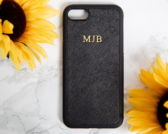 iphone 7 case, Iphone 7 case personalized, iphone 8 case,  Black, saffiano, Customized, embossed phone cover, monogrammed iphone accessories