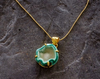 Green Geode Pendant Necklace
