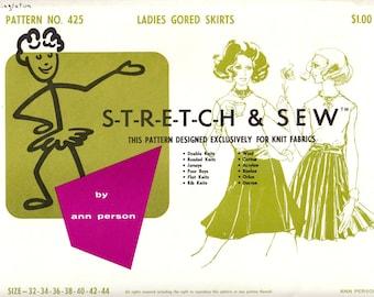 1960's Vintage Sewing Pattern Stretch & Sew 425 Ladies' Gored Skirts Waist Sizes 32-44