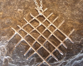 Sterling Silver Large Mesh Pendant Necklace, on sterling silver chain.  Organic Crossed Silver Wire. Choose size.  A lovely gift for her.
