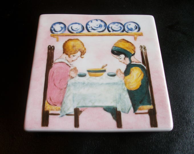 flat square trivet / handpainted porcelain / vintage / children / prayer /.