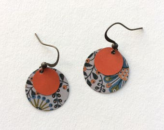 Handmade Repurposed Disk Tin Earrings, Lightweight, One of a Kind, Bronze Ear Wire