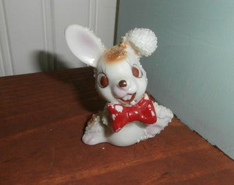 Cute Japan made rough coconut covered bunny rabbit with red  bow tie and buck teeth and a smile for you!