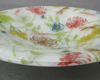 Floral glass dish, honeysuckle viola daisy shallow glass bowl, tea light holder, coin tray, candy serving dish, key tray, gifts for Mother