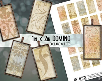 Vintage Paper Patterns 1x2 Domino Collage Sheet Digital Images for Glass and Resin Pendants Magnets Paper Craft JPG D0018