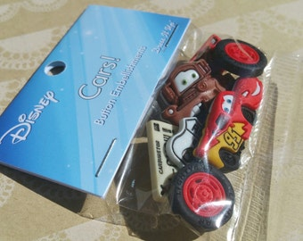 "Disney Cars Buttons - Disney Sewing Button - 2"" Wide - 7 Buttons"
