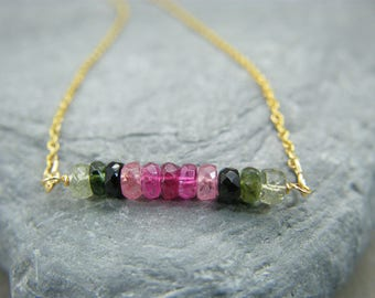 Tourmaline necklace ~ Gift for October birthday necklace ~ October birthstone necklace gold ~ Watermelon tourmaline gemstone bar necklace ~