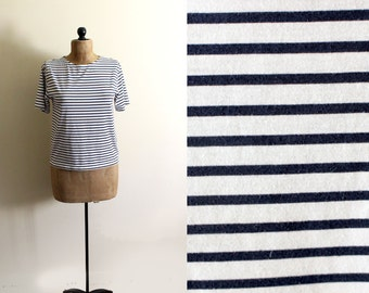 vintage tshirt navy white striped 90s womens clothing 1990s minimalist size small s