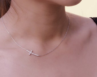 Classic Curved Sideways Cross Diamond Simulant CZ Sterling Silver Chain Necklace, Hypoallergenic, Classic Dainty Necklace, Gift For Her