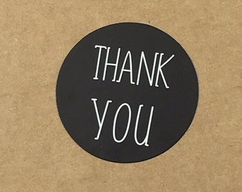 24 thank you stickers, black and white