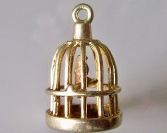 9ct Gold Bird in Cage Charm or Pendant