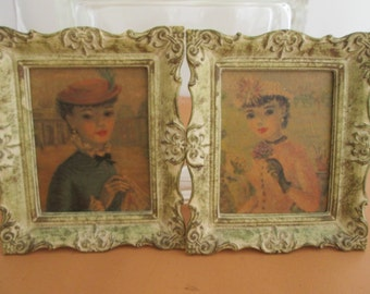 Vintage French Victorian Lady Pictures Wall Mount Ornate Cream Gold Frames Shabby Chic Decor