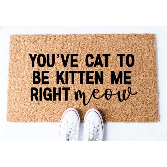sc 1 st  Etsy & Right Meow Doormat Cat Doormat Funny Doormat Welcome Mat