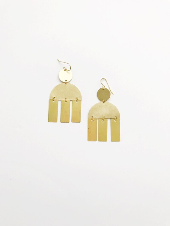 Brass Rectangle Drop Earrings
