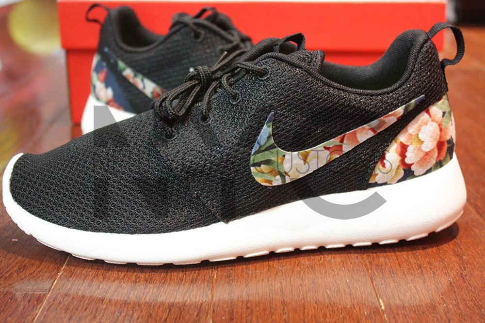 nike roshe run black white custom floral womens blazers
