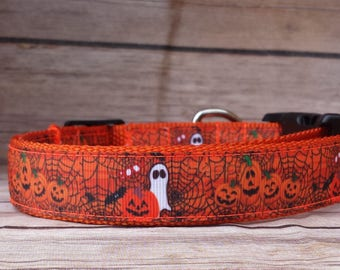 Pumpkin Dog Collar / Ghost Dog Collar / Halloween Dog Collar /  Orange Dog Collar / Spider Web Collar / Laughing Pumpkin Dog Collar