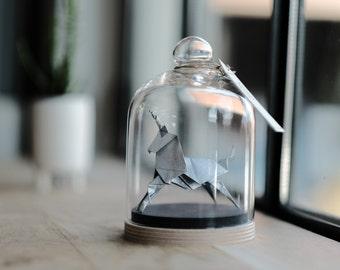 Sculpture Origami Licorne Argent. Blade Runner. Taxidermie. Cabinet de Curiosités. Cadeau pour lui. Cadeau pour elle. Cadeau personnalisable