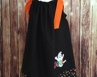 Halloween Pillowcase Dress, Black and Orange pillowcase dress, Pillowcase dress for Halloween, Girls dress for Halloween