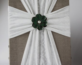 Handmade Fabric Cross Canvas Wall Hanging Linen and White