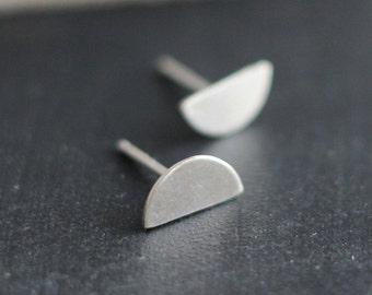 Half Moon Sterling Stud Earrings- Free Shipping, silver studs, sterling studs, silver posts, minimalist earrings
