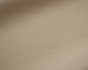 Beige 58'' Medium-Weight 1x1 Cotton Rib Knit Fabric - Style 3139