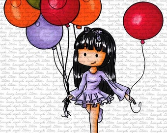 Balloon Amy Digital Stamp by Sasayaki Glitter Black and white