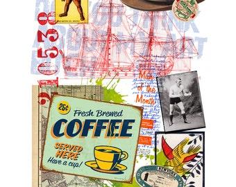 Coffee, Mixed Media Original Collage Art Poster, Ephemera, vintage, retro, (50x70cm)
