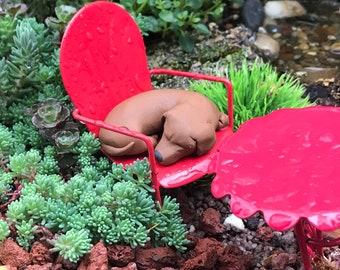 Brown Sleeping dachshund,Dollhouse Dog, polymer clay sculpture