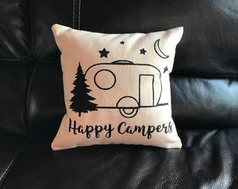 Happy Campers Decorative Pillow Travel Adventure Throw Pillow Camping Gift