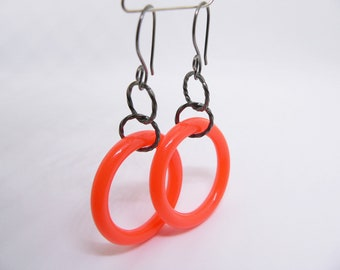 orange earrings, contemporary earrings, recycled jewelry, unique earrings, unusual earrings, sterling silver with plastic